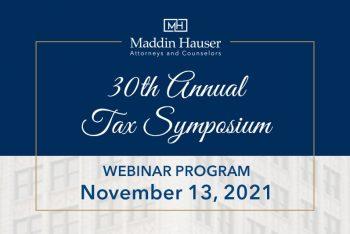 Thirtieth Annual Tax Symposium